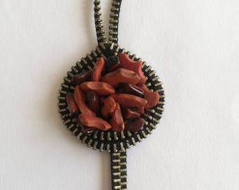 Zipper Necklace - Ceramic Beads - Unique Jewerly