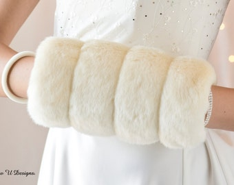 Faux fur muff winter wedding hand warmer Regular size Available white, ivory, cream or black grooved faux fur