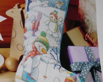 Snowman cross stitch Christmas stocking
