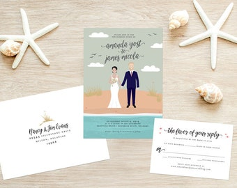 Custom Illustrated Portrait Wedding Invitation Suite - Couple Portrait - Wedding Couple - Beach Wedding
