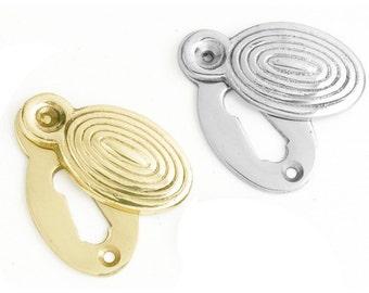 Oval Ribbed Escutcheon Polished Brass