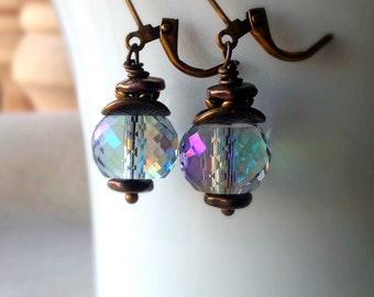 Blue Glass Earrings, Ice Blue, Water Drop Earrings, Wire Wrapped, Antiqued Brass, Small, Blue Green Drop Earrings