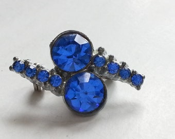 Rhinestone Scatter Pin, Small Blue Brooch, Vintage Costume Jewelry, Bride, Mother's Day Gift