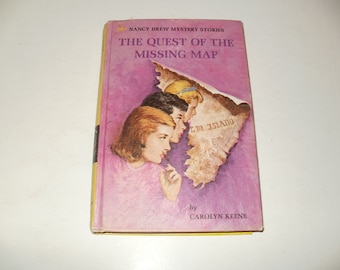 Nancy Drew Mystery Story-The Quest of the Missing Map by Carolyn Keene -Vintage 1969 Hardcover Book, illustrated