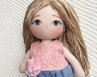 Personalized Cloth Doll - Blonde Fabric Doll - Doll with Wool Hair - Author's Pattern Cloth Doll - Pastel Rag Doll - Girl Gift Idea -