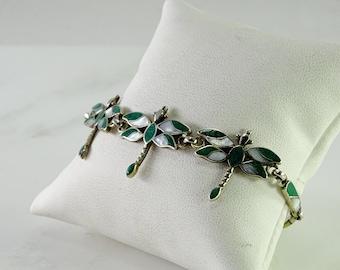 """Sterling Silver Inlaid Dragonfly Bracelet (adjustable 6 1/2-7 1/2"""")"""