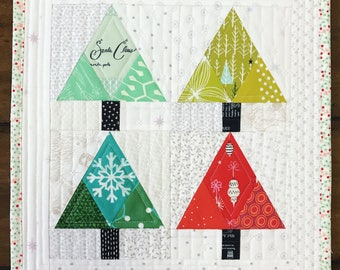 Tinsel Trees Quilt Block   Christmas Tree Paper Pieced Block Pattern