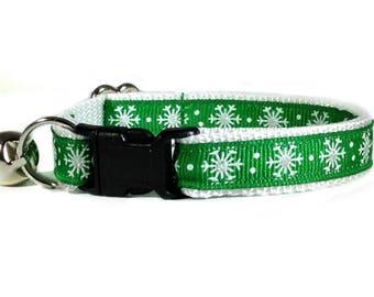 Christmas Cat Collar / Snowflake Cat Collar / Green Cat Collar / Christmas Kitten Collar / Breakaway Cat Collar / Dog Collar / Puppy Collars