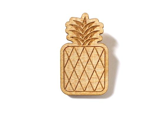 Pineapple brooch - kitsch fruit pin - retro jewelry - lasercut maple wood - graphic food pin - summer jewelry - holiday jewellery