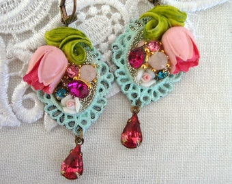 romantic and floral earrings tulip crystal and porcelain roses