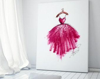 Art poster, Pink dress art, Fashion illustration, Fashion art, Fashion wall art, Fashion sketch, Nursery art, Pink nursery art, Pink decor