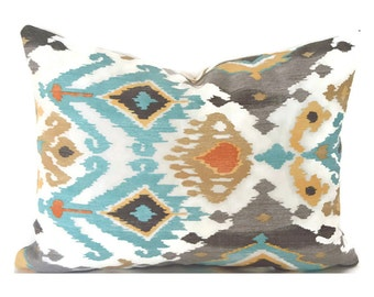 Outdoor Lumbar Pillow Cover ANY SIZE Decorative Pillow Cover Ikat Pillows Mill Creek Outdoor Lavezzi Tahoe