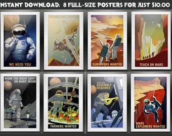 Mars NASA Poster Set, NASA Print, Mars Printable Posters, Mars Recruitment Posters, Space Travel Prints, Space Travel, Mars Exploration Art