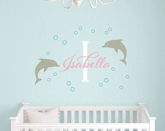 Dolphin Name Decal Set, Personalized Name Decals, Dolphin Wall Decals, Sea Ocean Friends Wall Stickers, Nautical Nursery, Baby Decals