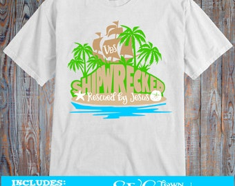 VBS - Shipwrecked - Rescued by God's Love  -   SVG Design Silhouette, Cricut or Print - Tshirt