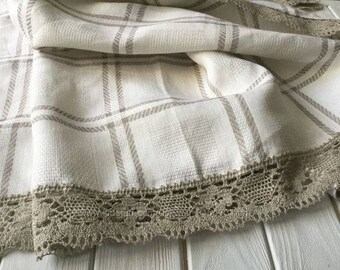 Linen Flax Tablecloth, Natural flax tablecloth with lace trim.