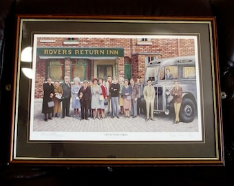 VINTAGE Coronation St Rovers Return cast Limited Edition signed Ken Barlow (with blind stamp)