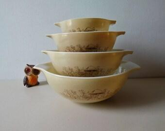 Mélange de Vintage champignon pyrex bols ensemble bol de Pyrex forêt fantaisies Cendrillon que bols en Pyrex marron