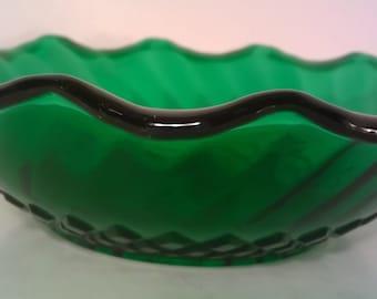 Emerald Green Swirl Glass Bowl