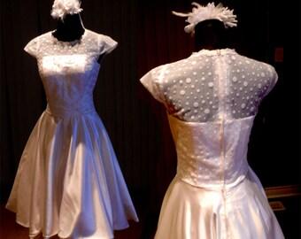 Audrey Hepburn wedding dress, 50s wedding dress, Tea length wedding dress, Plus size available