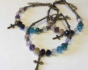 Psalm 23 Bracelet B Swarovski Crystal - Brass - One Size Fits All - FREE USA Shipping