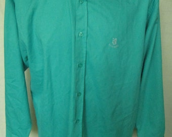 Vintage Vtg 1990's HUGO BOSS Mens Green Long Sleeved Casual Dress Shirt Size L Large Used Very Good Condition