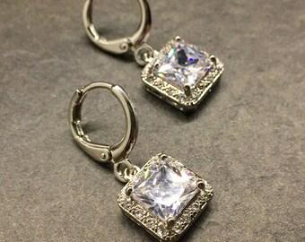 Hannah | Silver bridal earrings, cushion cut earrings, wedding earrings, bridesmaid earrings, square earrings, drop earrings, jewellery