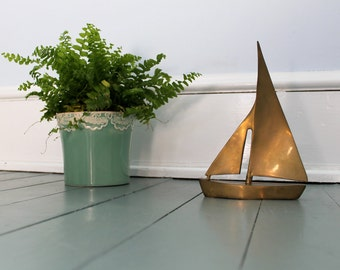 Sail Away... Vintage Brass Sailboat, Home Decor