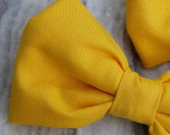 Bright Yellow Bow tie - clip on, pre-tied with strap or self tying