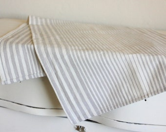 Striped Cotton Table Runner -  Cream and Gray - Select Your Length