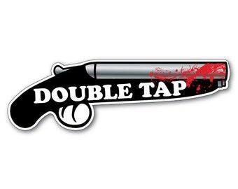 Rule Number 2 - DOUBLE TAP - Zombie Shotgun Vinyl Bumper Sticker
