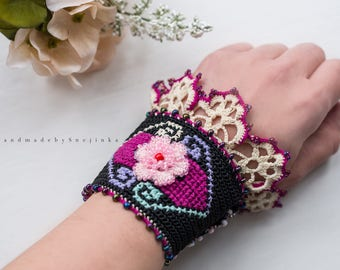 Black crochet beaded bracelet, Bulgarian embroidery, Rose beaded flower, Crochet cuff, Lace bracelet