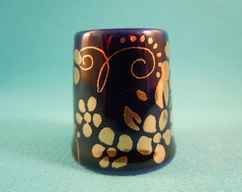 One Thimble Bone China with Gold Flowers