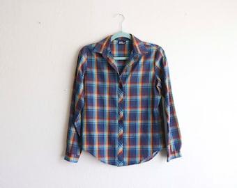 Women's Plaid Button up Blouse Shirt Koret Medium