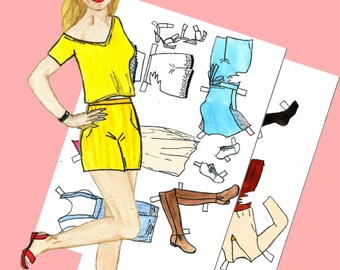 Paper doll Printable paper doll Fashion paper doll Dress up doll Julia #004 Digital paper doll Cut out doll