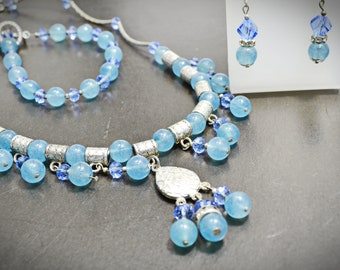Blue Silver Beaded Natural Aqua Quartz Gemstone Charms Necklace Bracelet Earrings Set Stone Statement Artisan Jewelry Set of 3 Gift for Mom