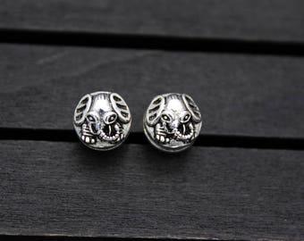 1PC-10mm Sterling Silver Elephant Beads, Ganesha Beads, Ganesh Spacer Beads, Garnesh, Lord Ganesha, Elephant God
