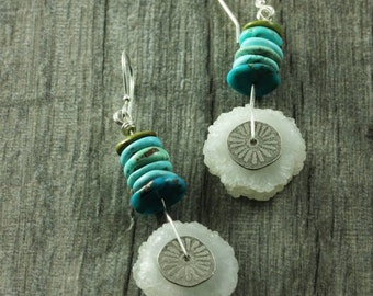 Turquoise and Drusy Cedar Cove Earrings As seen on Cedar Cove