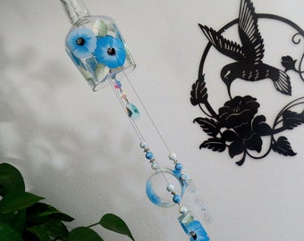 Glass Wind Chime, Recycled bottle wind chime, Flowers, Sun catcher, Blue, yard art, clear glass, House warming gift