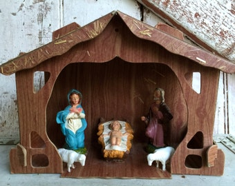nativity set vintage creche cardboard stable with light, Christmas decoration, ornament, Mary, Joseph, and Baby Jesus