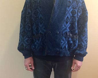 Vintage leather trimmed double breasted cardigan //  mens size S