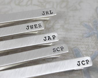 Inspirational, Sterling silver tie bar, standard or skinny tie bar, personalized tie bar, mens personalized, custom tie clip