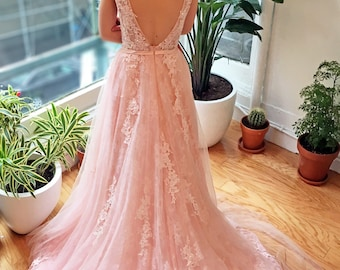 Pink Blush Lace V Back Wedding Dress