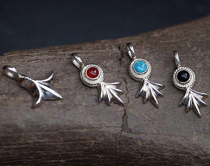 Fleur de Lis Pendant | Silver Floral Pendant Flower | Fleur de Lis Charm | Turquoise Charm Pendant |Black Onyx Pendant Red |Gemstone Pendant