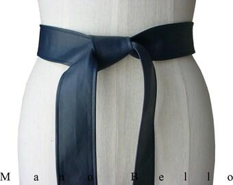 Classic belt Dark Blue Leather Coat Belt Soft Leather Belt Simple Basic Belt Navy Blue Leather Tie Belt Dress belt Belts for women Gift her