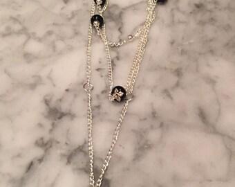 Black swirl chain necklace
