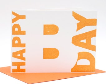 Letterpress birthday card, Happy Birthday, hand-printed woodcut