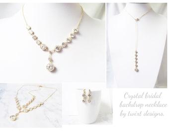 Crystal Bridal Backdrop Necklace, Crystal Wedding necklace, Crystal Bridal necklace, Crystal Bridal Jewelry, Wedding jewelry,  Back Necklace