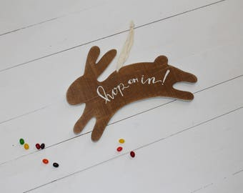 Hop on in-Easter Bunny Wood Sign