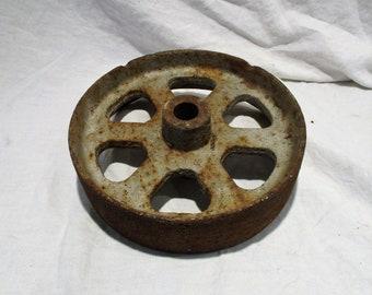 Industrial Wheel or Cog, Gray, Old Pulley Wheel, Industrial Factory Salvage
